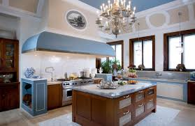blue white kitchen design and decoration using large light blue