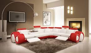 leather sectional sofa recliner divani casa 4087 modern white and red leather sectional sofa