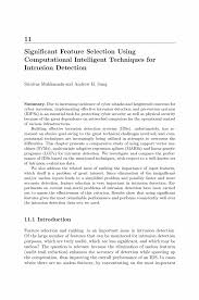 Significant Feature Selection Using Computational Intelligent