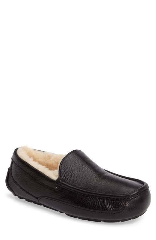 UGG Australia Ascot Leather Moccasin Black Slippers 5379B-BLK