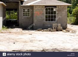 Building A Concrete Block House Cement Block House Under Construction On A Sand Base Stock Photo