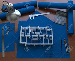 3d model on the floor of the house blueprint 3d rendering stock