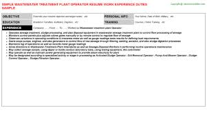 Maintenance Technician Resume Sample by Wastewater Treatment Plant Operator Resume Sample
