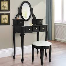 Linon Home Decor Vanity Set With Butterfly Bench Black Bedroom Blackty Table Corner Makeup Set Desk Furniture With Mirror
