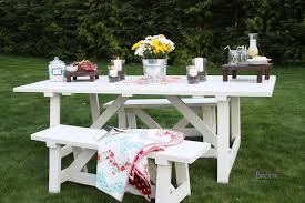 Free Wooden Picnic Table Plans by Ana White Providence Table Diy Projects