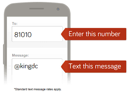 Text  kingdc to