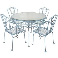 Cast Iron Patio Set Table Chairs Garden Furniture - vintage salterini wrought iron table and chairs in powder blue