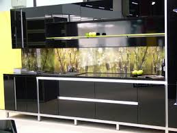 Glass Kitchen Backsplash Kitchen Amusing Black High Gloss Wood Kitchen Cabinet With Green
