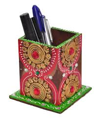 Shoppers Stop Home Decor by Multicolor Wooden Paper Mashe Pen Stand Pen Holder Wooden