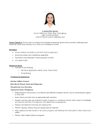 Sample Restaurant Management Resume Career Objective with Personal     Resume Daily     Samples Of Objectives On Resumes With Additional Skills And Professional Experience As Receptionist  Sample