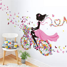 wall stickers and murals amazon co uk meihuida magic fairy bright flower heart shaped garland pink dress maid wall sticker for girls room decoration