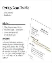 Objectives For Resumes Examples by 7 Career Objectives Sample Examples In Word Pdf