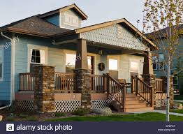craftsman style residential homes in colorado usa stock photo