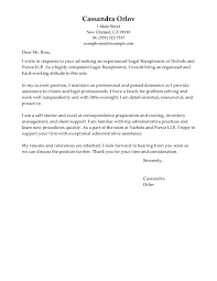 Sample Of Receptionist Resume by Best Legal Receptionist Cover Letter Examples Livecareer