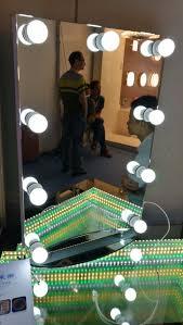 aluminium poli miroir hollywood maquillage miroir avec ampoule lumières aluminium vanité