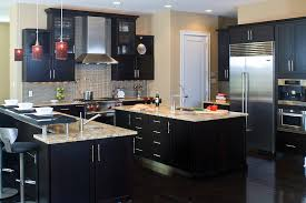 cherry cabinets in kitchen a contemporary kitchen featuring cherry cabinets with a dark
