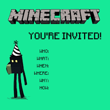Free Printable Birthday Invitation Cards With Photo Minecraft Birthday Party Printables Crafts And Games