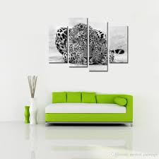 2017 abstract blue eyed leopard painting black white wall art