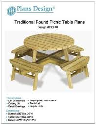 traditional round picnic table benches woodworking plans odf04