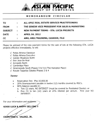 memorandum u2013 new payment terms for other sta lucia projects