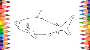 how to draw shark coloring pages video for kids youtube