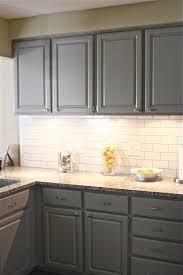 Painted Kitchen Backsplash Photos Painted Gray Kitchen Cabinets With White Subway Tile Backsplash