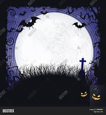 scary moon background distressed blue background with dark halloween themed frame scary