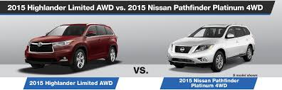 nissan pathfinder platinum 2015 2015 highlander limited awd vs 2015 nissan pathfinder platinum