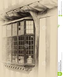 leaded bay windows on an english tudor house stock photo image