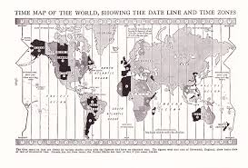World Time Zones Map by 1947 Map World Time Zones Vintage Antique Map Great For