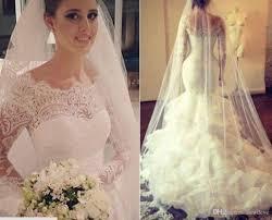 lace bridal gowns mermaid puffy ruffles skirt long sleeves sheer
