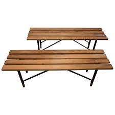 Wood Slat by Wood Slat Bench With Black Metal Cross Bar Base And Wood Feet For