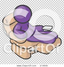 clipart illustration of a chubby and lazy purple man with a beer