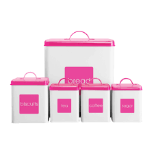 tea coffee sugar biscuits bread bin pink white canisters