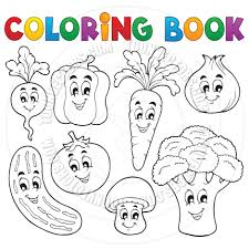 cartoon coloring book vegetable theme by clairev toon vectors
