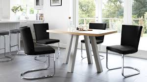 Contemporary Oak Cross  Seater Dining Table UK - Black dining table for 4