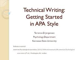 Technical Writing  Getting Started in APA Style Terrence D     Format Paper Before Beginning One inch margins on all sides of all pages  set