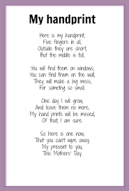 mothers u0027 day poems handprint poem poem and craft