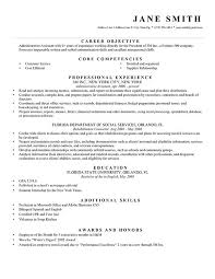 Example Resume  Florida Departmenr Of Sosial Service Forwriting Objective For Resume With Education And Profesional