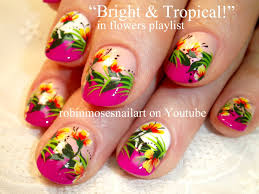 robin moses u0027 nail art for short nails tropical flowers design