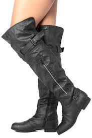 womens black leather biker boots black faux leather over the knee biker boots cicihot boots