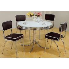 Chairs For Kitchen Table by Amazon Com 5pc White U0026 Chrome Retro Round Table U0026 Black Chairs