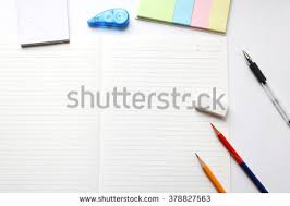 Blank notebook with pencil  red pencil  tag paper  notepad  correction tape