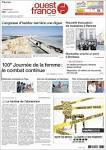 Journal Ouest France (France). Les Unes des journaux de France.