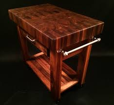 Kitchen Island With Chopping Block Top Black Walnut End Grain Butcher Block Cart 36x24x4 Inch Top