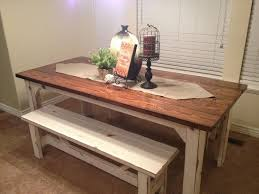 Rustic Nail  Farm Style Kitchen Table And Benches To Match - Farmhouse kitchen tables