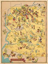 Map Of Arizona by Pictorial Map Of Arizona By Ruth Taylor 1935 Hjbmaps Com