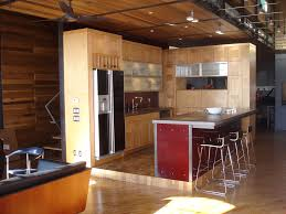 agreeable small modern open kitchen featuring brown color