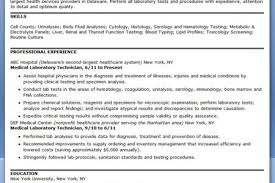 Sample Medical Technologist Resume by Examples Of Medical Laboratory Technologist Resume Reentrycorps