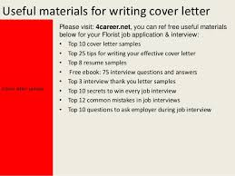 Florist cover letter Yours sincerely Mark Dixon     Useful materials for writing cover letter